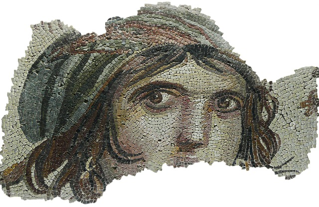 Crone woman in mosaic